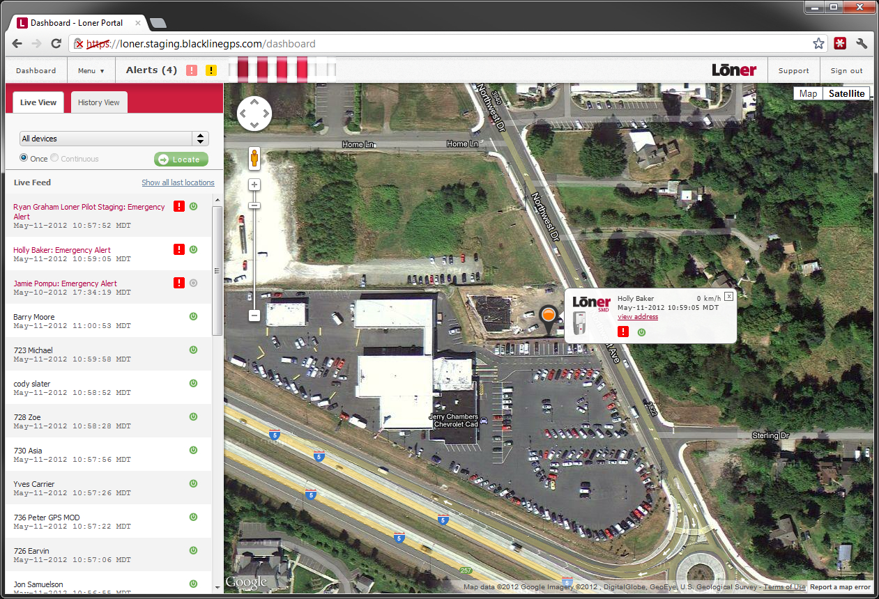 lone worker portal, earth view of alerts